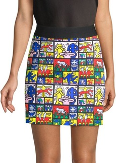 Keith Haring X Alice + Olivia Riley Graphic Comic Tube Skirt