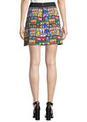 Keith Haring x Alice + Olivia Riley Wide-Waistband A-Line Short Skirt