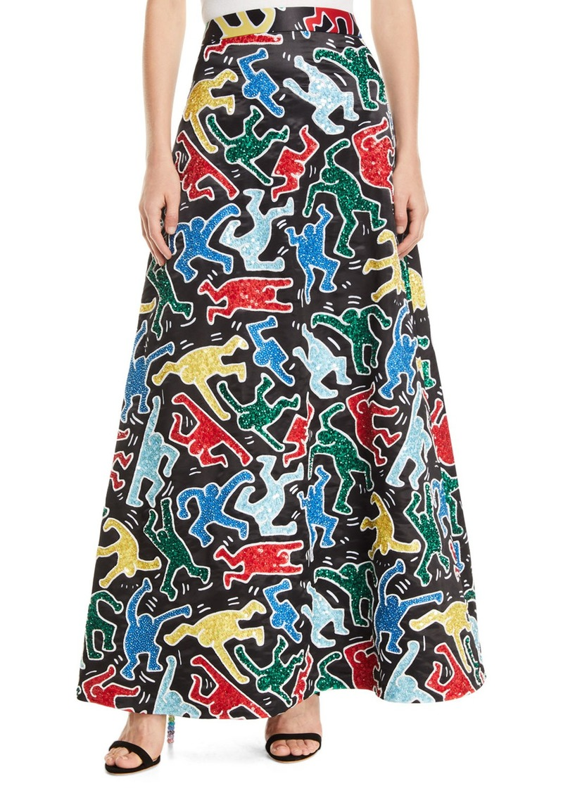Keith Haring x Alice + Olivia Ursula Embellished A-Line Ball Gown Skirt