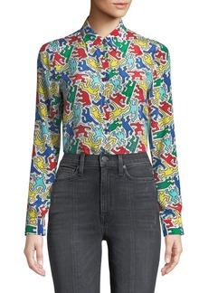Keith Haring x Alice + Olivia Willa Placket Top