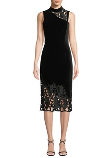Alice + Olivia Kiana Mock-Neck Lace Combo Dress