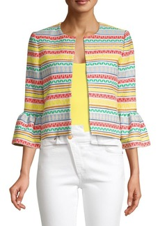 Alice + Olivia Kidman Printed Stripe Ruffle Cuff Jacket