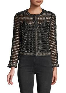 Alice + Olivia Kidman Studded Leather Cropped Jacket
