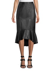 Alice + Olivia Kina Leather Midi Pencil Skirt w/ Flounce Hem