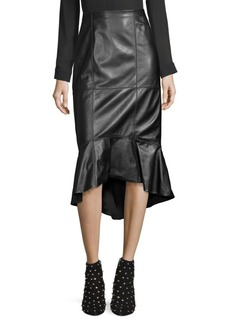 Alice + Olivia Kina Leather Flounce Pencil Skirt