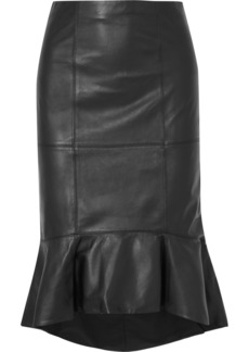 Alice + Olivia Kina Ruffled Leather Skirt