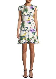 Alice + Olivia Kirby Jewel-Neck Cap-Sleeve Floral-Print Dress