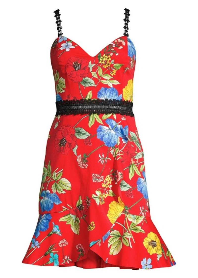 Alice + Olivia Kirby Lace-Trimmed Floral Fit-And-Flare Dress