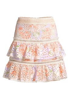 Alice + Olivia Kirsten Eyelet Embroidered Tiered Skirt