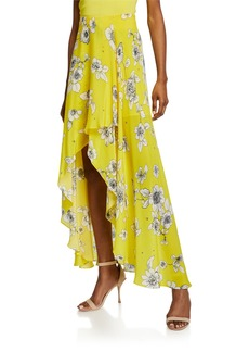 Alice + Olivia Kirstie Floral-Print Cascade Overlap High-Low Skirt