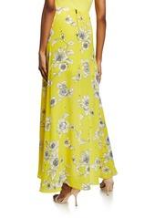 Alice + Olivia Kirstie Floral-Print Cascade Overlap High-Low Skirt