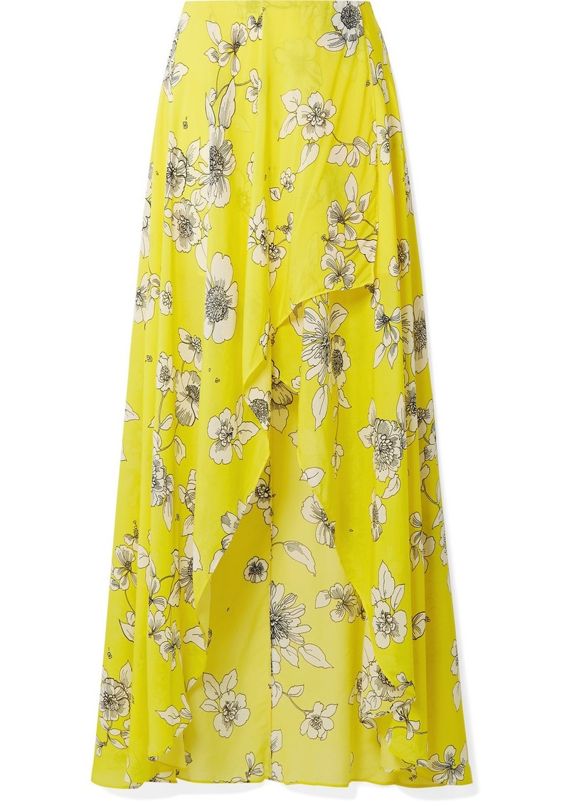 Alice + Olivia Kirstie Wrap-effect Floral-print Chiffon Maxi Skirt