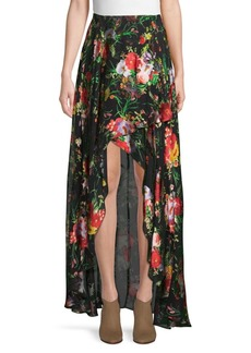 Alice + Olivia Kristie Cascade Floral High-Low Skirt