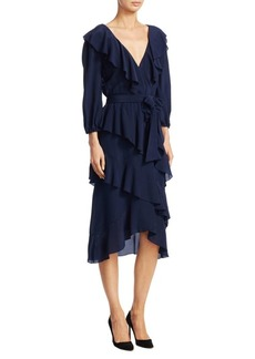 Alice + Olivia Kye V-Neck Ruffle Dress