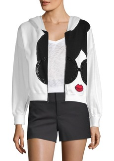 Alice + Olivia Kyle Zip-Up Cropped Hoodie