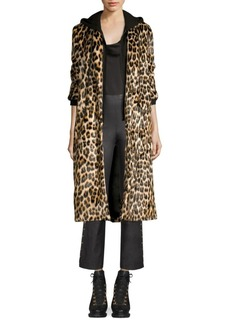 Alice + Olivia Kylie Layered Hoodie Leopard Coat