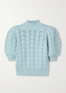 Alice + Olivia Kyoko Pointelle-knit Wool-blend Turtleneck Sweater