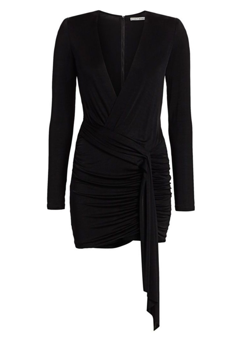 Alice + Olivia Kyra Deep V-Neck Drape Bodycon Dress