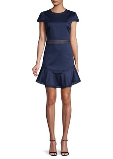 Alice + Olivia Lace-Trim Mini A-Line Dress