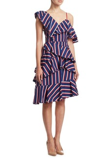 Alice + Olivia Laflora Asymmetrical Ruffle A-Line Dress