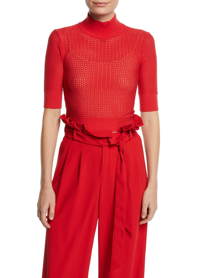 Alice + Olivia Lanie Pointelle High-Neck Short-Sleeve Pullover