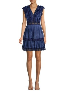 Alice + Olivia Lanora Tier Pleated Mini Dress