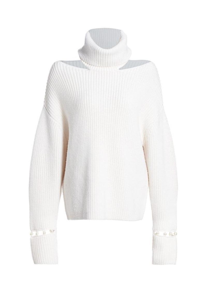 Alice + Olivia Lara Cold-Shoulder Turtleneck Sweater