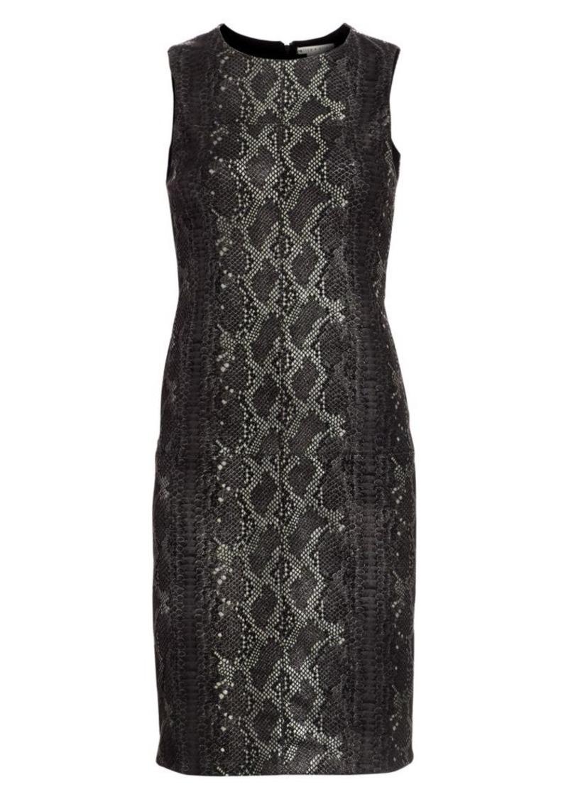Alice + Olivia Larita Snakeskin Embossed Leather Sheath Dress