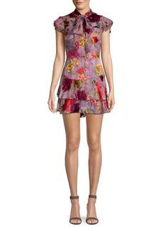 Alice + Olivia Lashay Tie-Neck Tiered Ruffle Floral Chiffon A-Line Dress