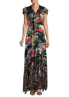 Alice + Olivia Laurette Floral Silk-Blend Ruffle Maxi Dress