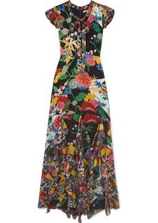 Alice + Olivia Laurette Ruffled Floral-print Satin Maxi Dress