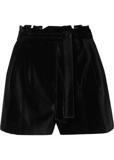 Alice + Olivia Laurine Belted Velvet Shorts
