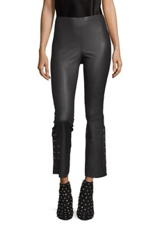 Alice + Olivia Kylyn Leather High-Waisted Backzip Flare Pants