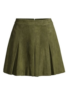 Alice + Olivia Lee Suede Box Pleat Mini A-Line Skirt