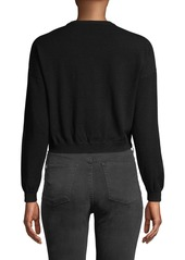 Alice + Olivia Leena Embellished Cropped Sweatshirt