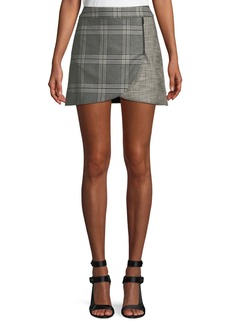 Alice + Olivia Lennon Colorblock Plaid Draped Mini Skirt