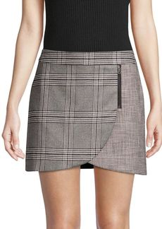 Alice + Olivia Lennon Plaid Overlap Mini Skirt