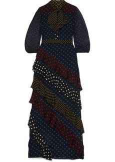 Alice + Olivia Lessie Ruffled Polka-dot Silk Crepe De Chine Maxi Dress