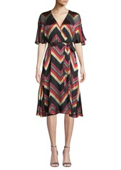 Alice + Olivia Lexa Chevron Stripe Midi Dress