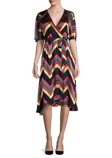 Alice + Olivia Lexa Stretch Silk Wrap Dress
