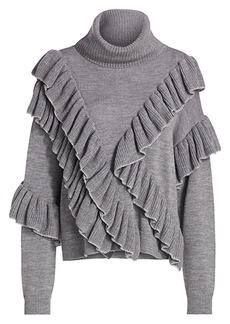 Alice + Olivia Libbie Ruffle-Trim Turtleneck Sweater