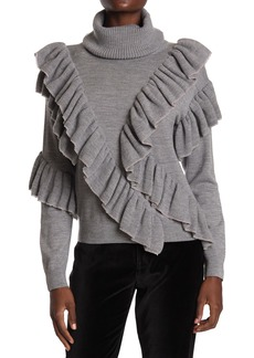 Alice + Olivia Libbie Ruffled Wool Blend Pullover Sweater