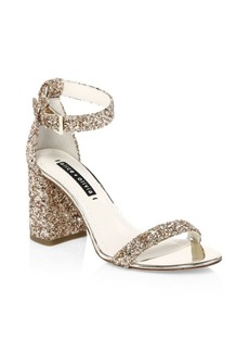 Alice + Olivia Lillian Glitter Leather Ankle-Strap Heels