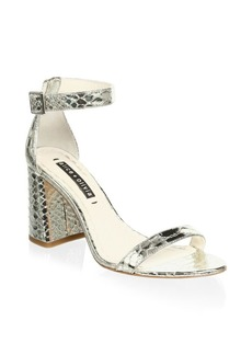 Alice + Olivia Lillian Snake Embossed Sandals