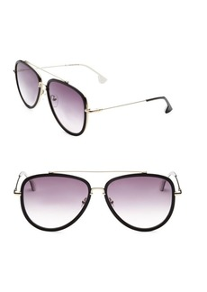 Alice + Olivia Lincoln Black Aviator Sunglasses