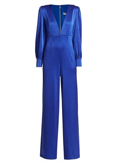 Alice + Olivia Lisa Puff-Sleeve Plunging Jumpsuit