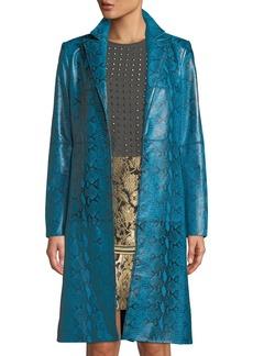 Alice + Olivia Logan Leather Oversized-Collar Coat