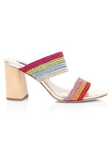 Alice + Olivia Loni Braided Rainbow Stripe Mules