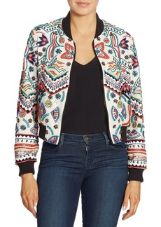 Alice + Olivia Lonnie Embellished Cropped Silk Bomber Jacket