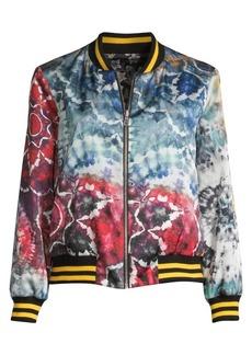 Alice + Olivia Lonnie Reversible Oversized Floral Tie Dye Bomber Jacket
